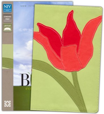 NIV Thinline Bloom Collection Bible, Imitation Leather,Red Tulip