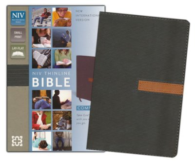 NIV Thinline Compact Bible-soft leather-look,dark taupe/graphite